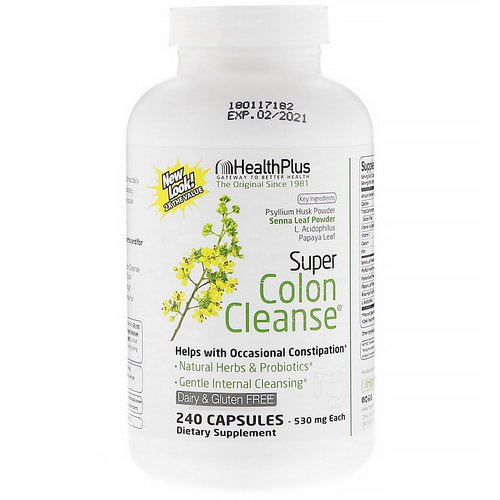Health Plus, Super Colon Cleanse, 530 mg, 240 Capsules فوائد
