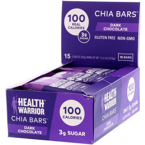 Health Warrior, Chia Bars, Dark Chocolate, 15 Bars, 0.88 oz (25 g) Each فوائد