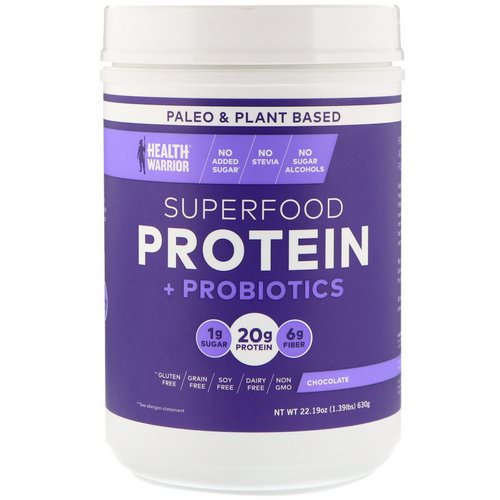 Health Warrior, Superfood Protein + Probiotics, Chocolate, 1.39 lbs (630 g) فوائد