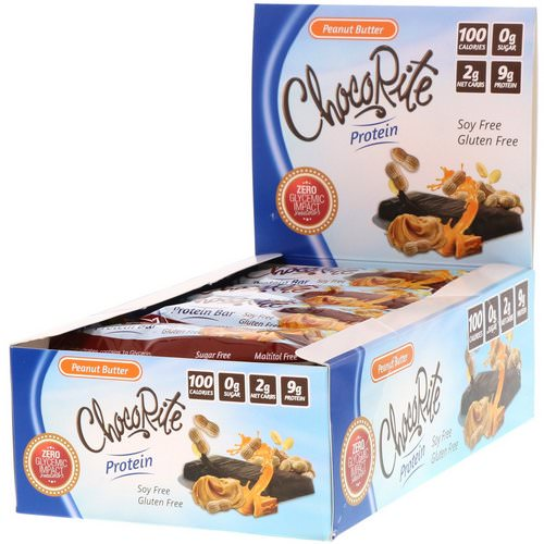 HealthSmart Foods, ChocoRite Protein Bar, Peanut Butter, 16 Bars - 1.2 oz (34 g) Each فوائد