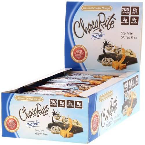 HealthSmart Foods, ChocoRite Protein Bars, Caramel Cookie Dough, 16 Bars, 1.20 oz (34 g) Each فوائد