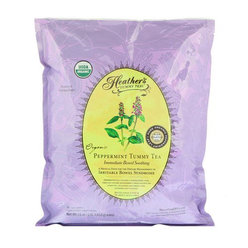 Heather's Tummy Care, Organic Peppermint Tummy Tea, Immediate Bowel Soothing, Caffeine Free, 16 oz (453 g) فوائد