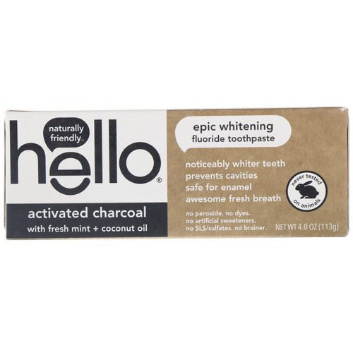 Hello, Activated Charcoal Epic Whitening Fluoride Toothpaste, 4.0 oz (113 g) فوائد
