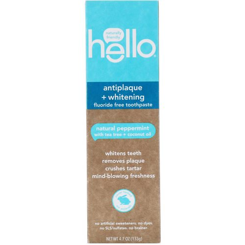 Hello, Antiplaque + Whitening Fluoride Free Toothpaste, Natural Peppermint, 4.7 oz (133 g) فوائد