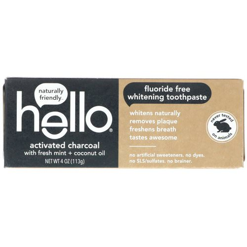 Hello, Fluoride Free Whitening Toothpaste, Activated Charcoal, With Fresh Mint & Coconut Oil, 4 oz (113 g) فوائد