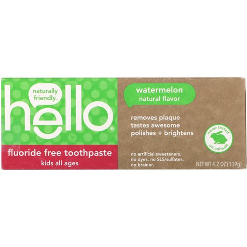 Hello, Kids, Fluoride Free Toothpaste, Watermelon, 4.2 oz (119 g) فوائد
