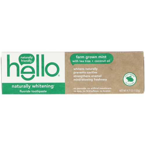 Hello, Naturally Whitening Fluoride Toothpaste, Farm Grown Mint, 4.7 oz (133 g) فوائد