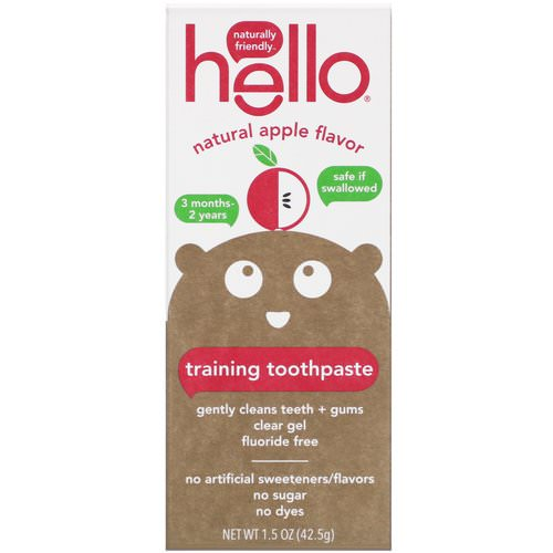 Hello, Training Toothpaste, Fluoride Free, Natural Apple Flavor, 1.5 oz (42.5 g) فوائد