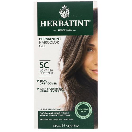 Herbatint, Permanent Haircolor Gel, 5C, Light Ash Chestnut, 4.56 fl oz (135 ml) فوائد