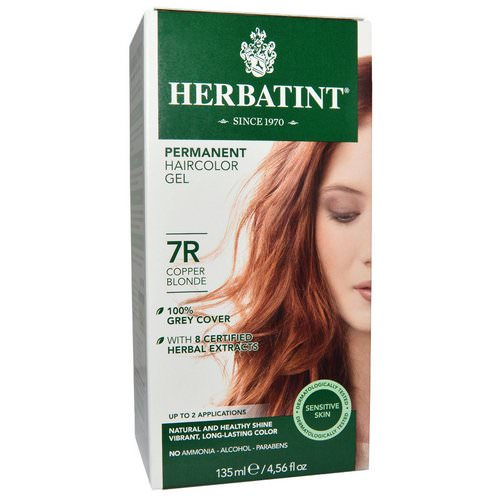 Herbatint, Permanent Haircolor Gel, 7R, Copper Blonde, 4.56 fl oz (135 ml) فوائد