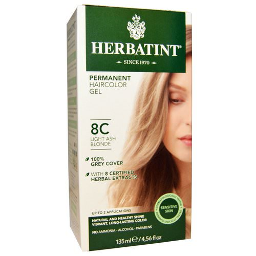 Herbatint, Permanent Haircolor Gel, 8C, Light Ash Blonde, 4.56 fl oz (135 ml) فوائد