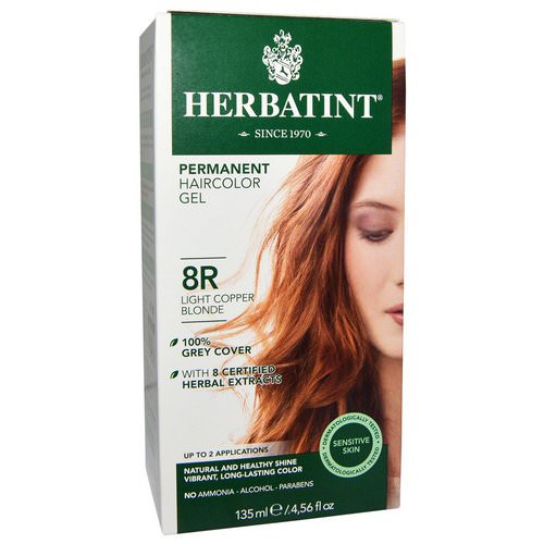 Herbatint, Permanent Haircolor Gel, 8R, Light Copper Blonde, 4.56 fl oz (135 ml) فوائد