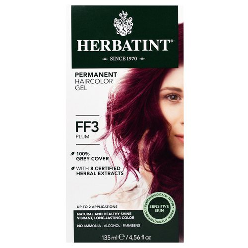 Herbatint, Permanent Haircolor Gel, FF 3, Plum, 4.56 fl oz (135 ml) فوائد