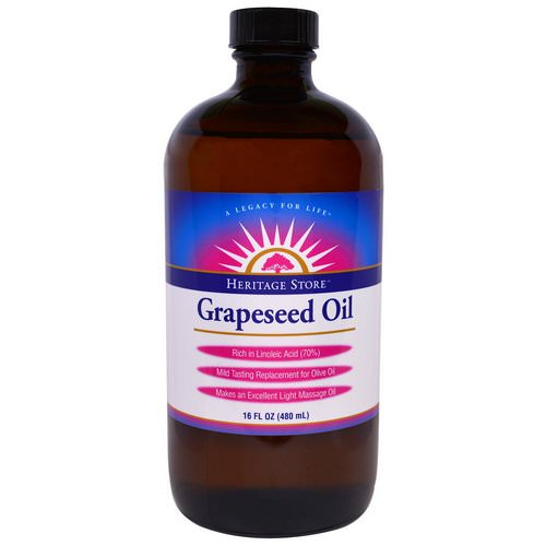 Heritage Store, Grapeseed Oil, 16 fl oz (480 ml) فوائد