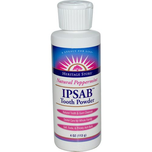 Heritage Store, IPSAB Tooth Powder, Natural Peppermint, 4 oz (113 g) فوائد