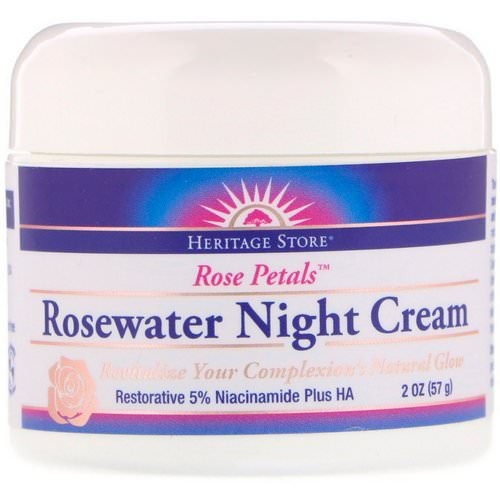 Heritage Store, Rosewater Night Cream, Rose Petals, 2 oz (57 g) فوائد
