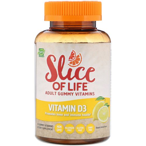 Hero Nutritional Products, Slice of Life, Adult Gummy Vitamins, Vitamin D3, Organic Lemon Flavor, 60 Gummy Vitamins فوائد
