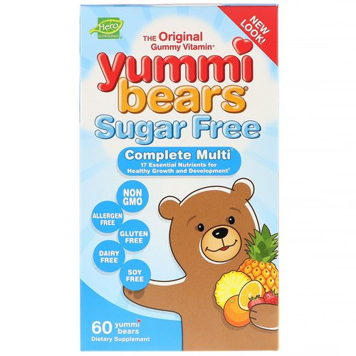 Hero Nutritional Products, Yummi Bears, Complete Multi, Sugar Free, All Natural Fruit Flavors, 60 Yummi Bears فوائد