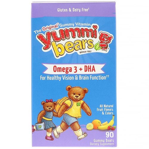 Hero Nutritional Products, Yummi Bears, Omega-3 + DHA, Natural Fruit Flavors, 90 Gummy Bears فوائد