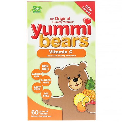Hero Nutritional Products, Yummi Bears, Vitamin C, All Natural Fruit Flavors, 60 Yummi Bears فوائد