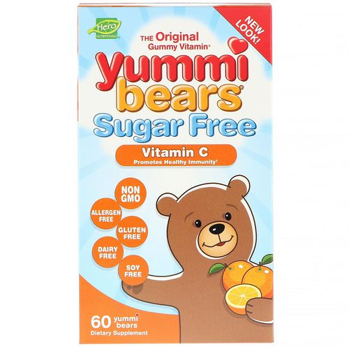 Hero Nutritional Products, Yummi Bears, Vitamin C, Sugar Free, All Natural Fruit Flavors, 60 Gummy Bears فوائد