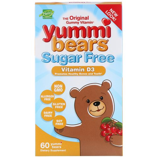 Hero Nutritional Products, Yummi Bears, Vitamin D3, Sugar Free, Natural Cherry Flavor, 60 Gummy Bears فوائد