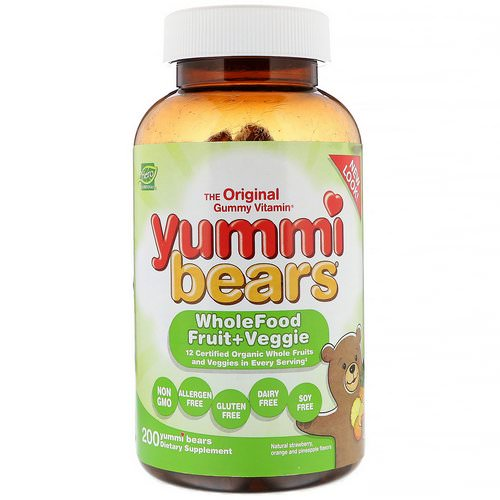 Hero Nutritional Products, Yummi Bears, Wholefood Fruit + Veggie, Natural Strawberry, Orange and Pineapple, 200 Yummi Bears فوائد
