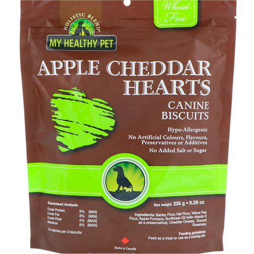 Holistic Blend, My Healthy Pet, Apple Cheddar Hearts, Canine Biscuits, 8.29 oz (235 g) فوائد