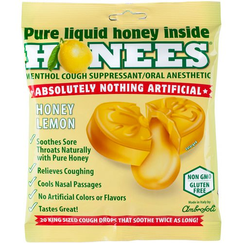 Honees, Cough Drops, Honey Lemon, 20 Cough Drops فوائد