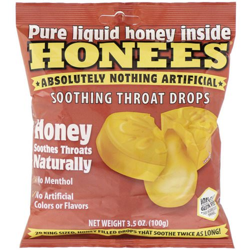 Honees, Soothing Throat Drops, Honey, 20 King Size Drops فوائد