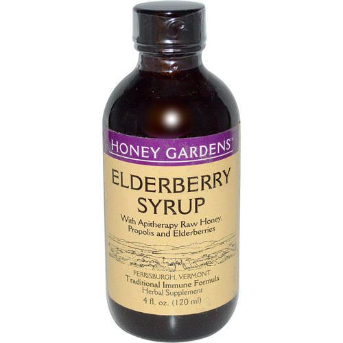 Honey Gardens, Elderberry Syrup with Apitherapy Raw Honey, Propolis and Elderberries, 4 fl oz (120 ml) فوائد