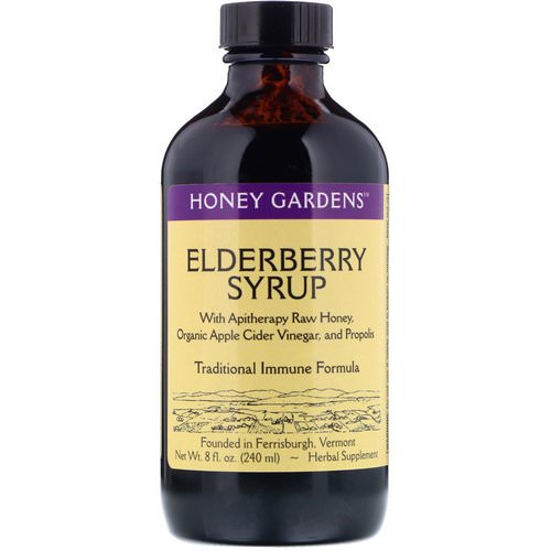 Honey Gardens, Elderberry Syrup with Apitherapy Raw Honey, Organic Apple Cider Vinegar, and Propolis, 8 fl oz (240 ml) فوائد