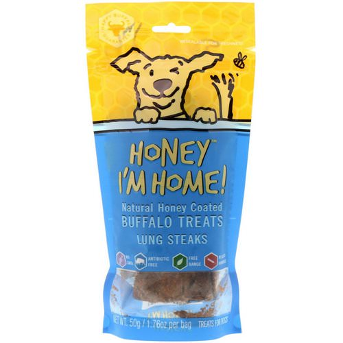 Honey I'm Home, Natural Honey Coated Buffalo Treats, Lung Steaks, 1.76 oz (50 g) فوائد
