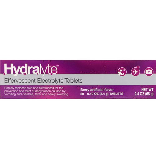 Hydralyte, Effervescent Electrolyte, Berry Artificial Flavor, 20 Tablets, 2.4 oz (68 g) فوائد