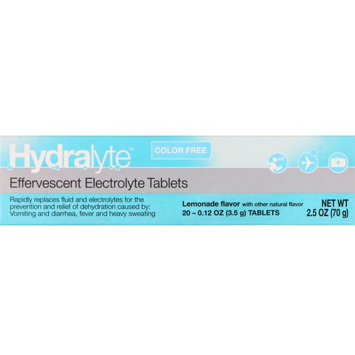 Hydralyte, Effervescent Electrolyte, Color Free, Lemonade Flavor, 20 Tablets, 2.5 oz (70 g) فوائد