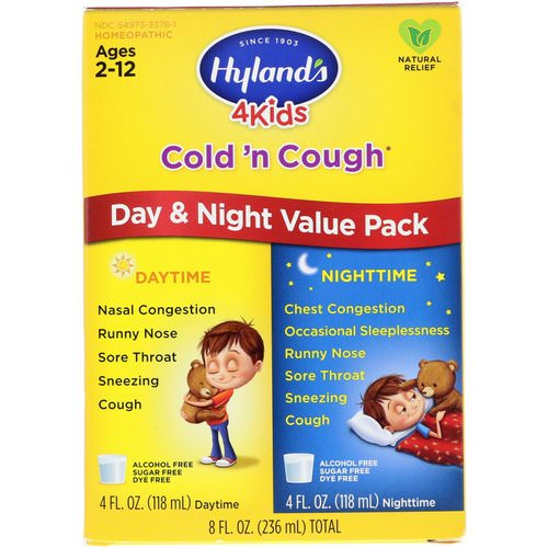 Hyland's, 4 Kids Cold 'n Cough Day & Night Value Pack, Age 2-12, 4 fl oz (118 ml) Each فوائد