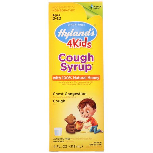 Hyland's, 4 Kids, Cough Syrup with 100% Natural Honey, Ages 2-12, 4 fl oz (118 ml) فوائد