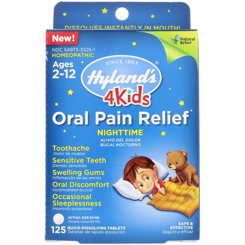 Hyland's, 4 Kids, Oral Pain Relief, Nighttime, Ages 2-12, 125 Tablets فوائد