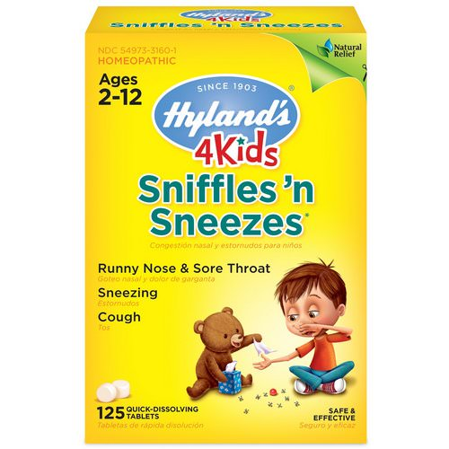 Hyland's, 4 Kids, Sniffles 'n Sneezes, Ages 2-12, 125 Quick-Dissolving Tablets فوائد