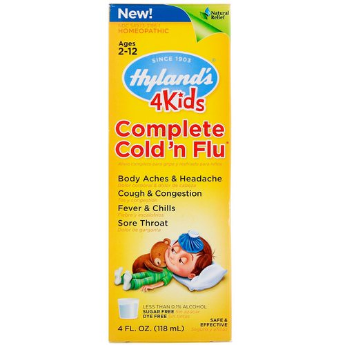 Hyland's, 4Kids, Complete Cold 'n Flu, Ages 2-12, 4 fl oz (118 ml) فوائد