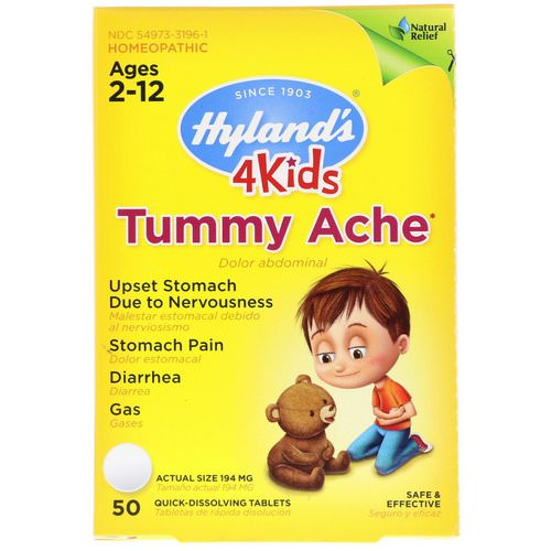 Hyland's, 4Kids, Tummy Ache, Ages 2-12, 50 Quick-Dissolving Tablets فوائد