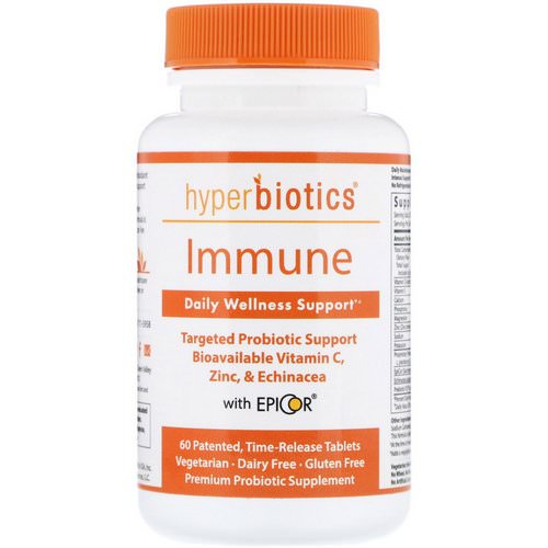 Hyperbiotics, Immune, Daily Wellness Support, 60 Time-Release Tablets فوائد
