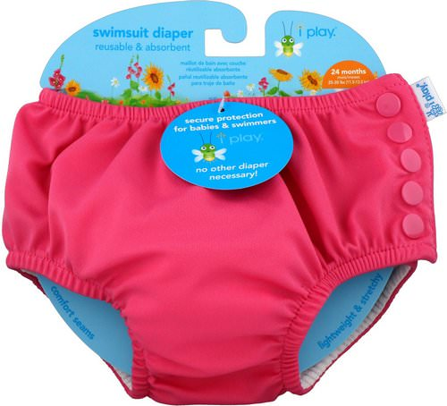 i play Inc, Swimsuit Diaper, Reusable & Absorbent, 24 Months, Hot Pink, 1 Diaper فوائد