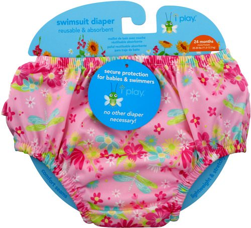 i play Inc, Swimsuit Diaper, Reusable & Absorbent, 24 Months, Light Pink Dragonfly, 1 Diaper فوائد