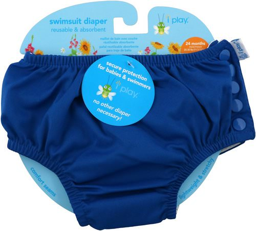 i play Inc, Swimsuit Diaper, Reusable & Absorbent, 24 Months, Royal Blue, 1 Diaper فوائد