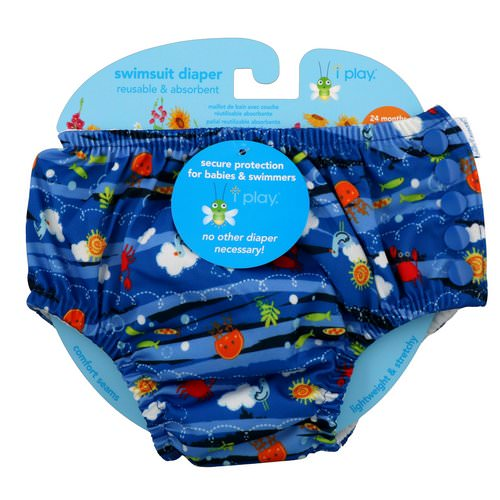 i play Inc, Swimsuit Diaper, Reusable & Absorbent, 24 Months, Royal Blue Sea Friends, 1 Diaper فوائد