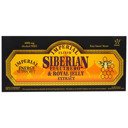Imperial Elixir, Siberian Eleuthero & Royal Jelly Extract, Alcohol Free, 4000 mg, 10 Bottles, 0.34 fl oz (10 ml) Each فوائد