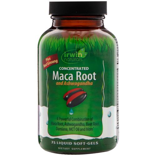 Irwin Naturals, Concentrated Maca Root and Ashwagandha, 75 Liquid Soft-Gels فوائد