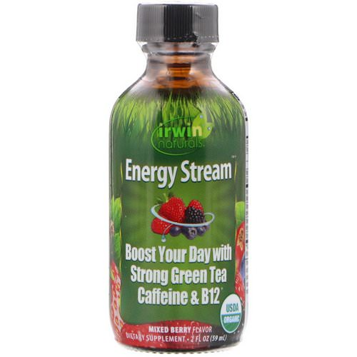 Irwin Naturals, Organic, Energy Stream, Mixed Berry Flavor, 2 fl oz (59 ml) فوائد