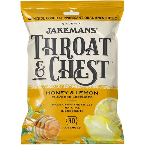 Jakemans, Throat & Chest, Honey and Lemon Flavored, 30 Lozenges فوائد